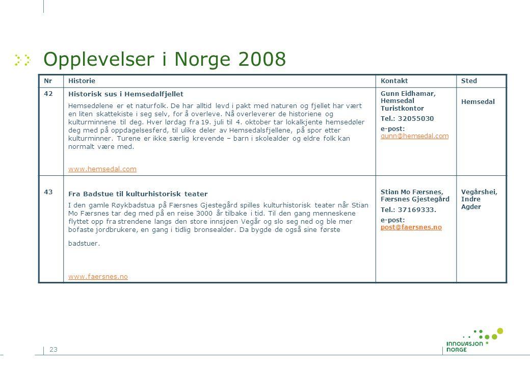 23 Opplevelser i Norge 2008 NrHistorieKontaktSted 42 Historisk sus i Hemsedalfjellet Hemsedølene er et naturfolk. De har alltid levd i pakt med nature