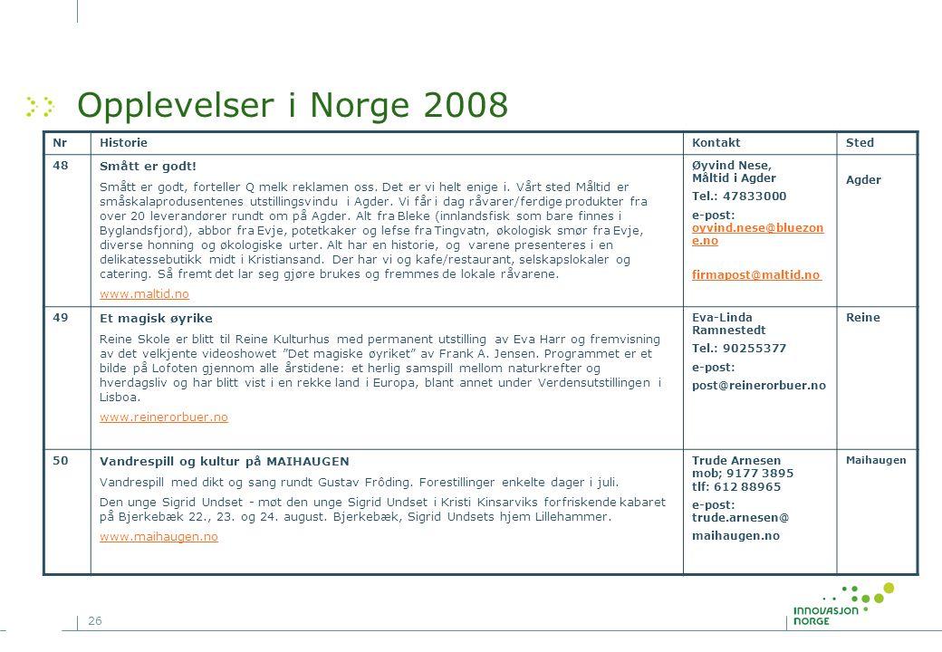 26 Opplevelser i Norge 2008 NrHistorieKontaktSted 48 Smått er godt! Smått er godt, forteller Q melk reklamen oss. Det er vi helt enige i. Vårt sted Må