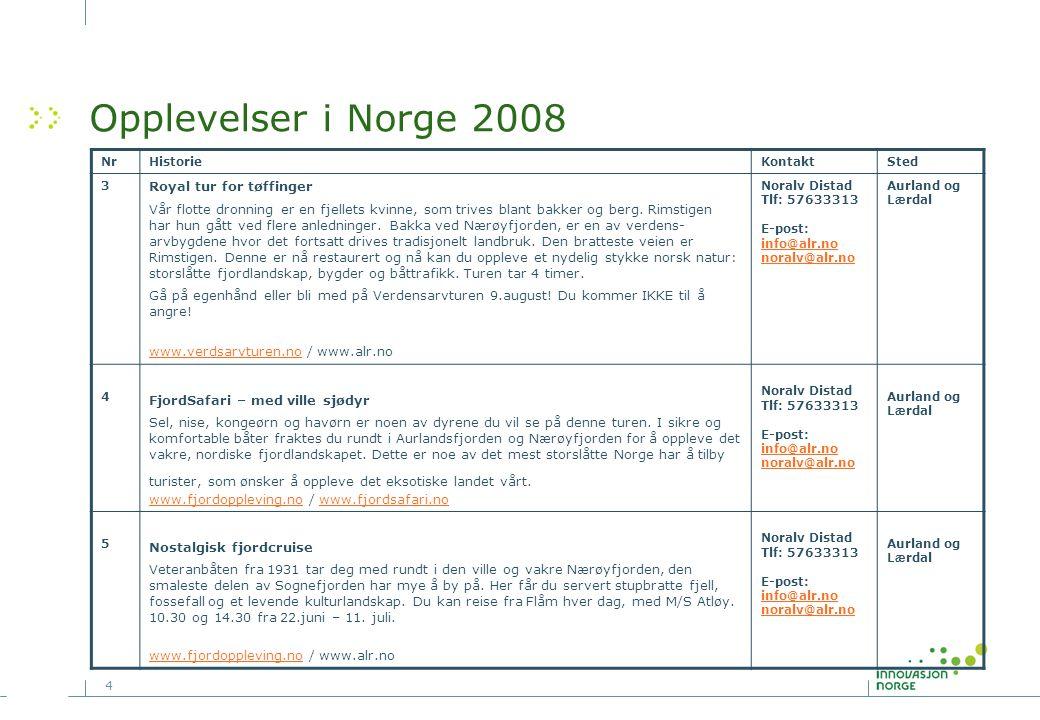 4 Opplevelser i Norge 2008 NrHistorieKontaktSted 3 Royal tur for tøffinger Vår flotte dronning er en fjellets kvinne, som trives blant bakker og berg.