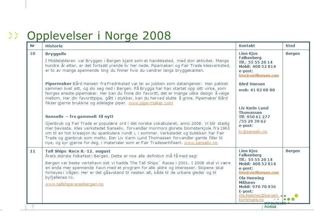 8 Opplevelser i Norge 2008 NrHistorieKontaktSted 12 Brudeferden i Holsfjorden Dette arrangementet er en del av det årlige Geilo Gjestebud fra 26.juli – 2.