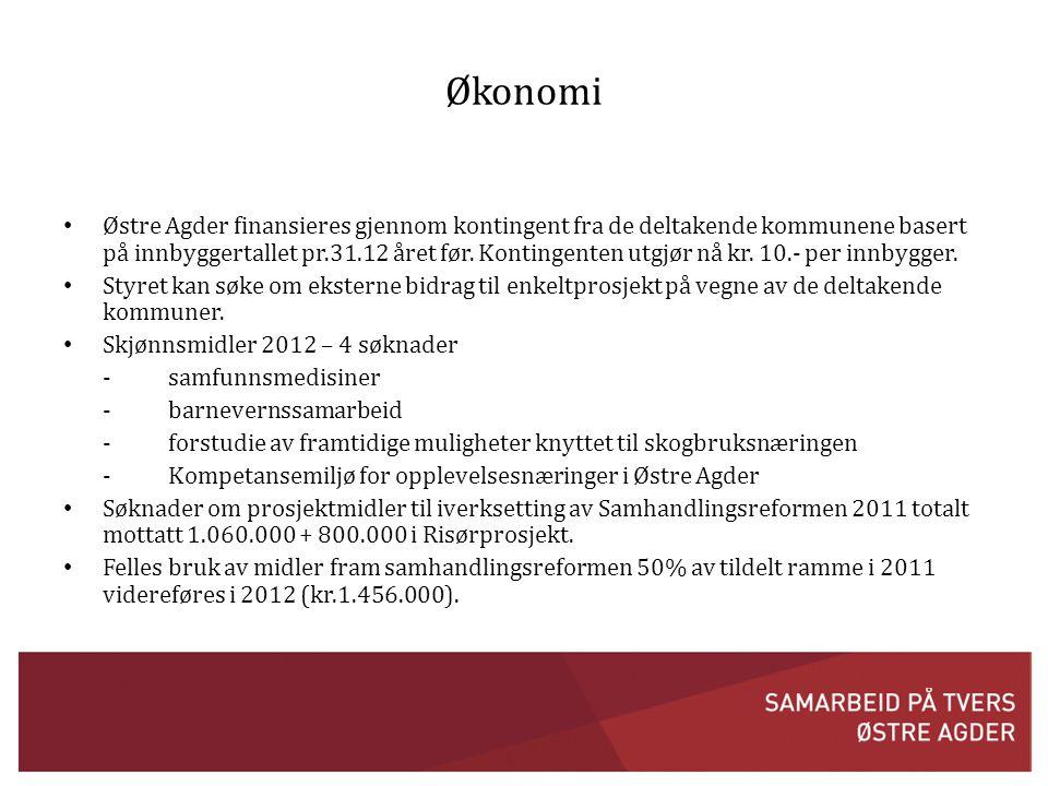 Økonomi • Østre Agder finansieres gjennom kontingent fra de deltakende kommunene basert på innbyggertallet pr.31.12 året før.
