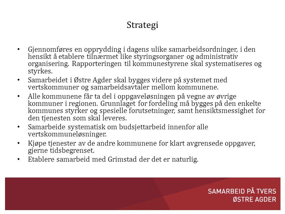 Strategi • Gjennomføres en opprydding i dagens ulike samarbeidsordninger, i den hensikt å etablere tilnærmet like styringsorganer og administrativ organisering.