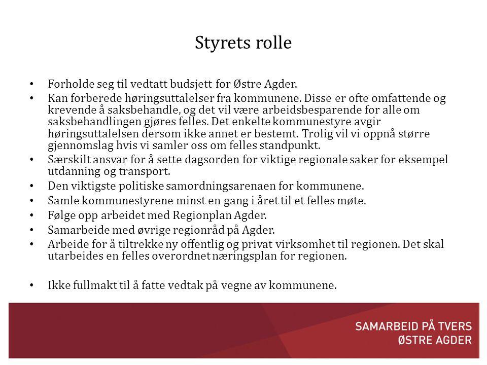 Styrets rolle • Forholde seg til vedtatt budsjett for Østre Agder.