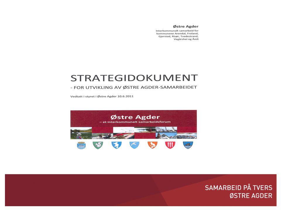 Innhold • Bakgrunn • Samarbeid i Østre Agder – status, utfordringer og veien videre • Strategi - bevisst jobbing ut fra formålet • Oppsummering av videre strategi for utvikling av Østre Agder