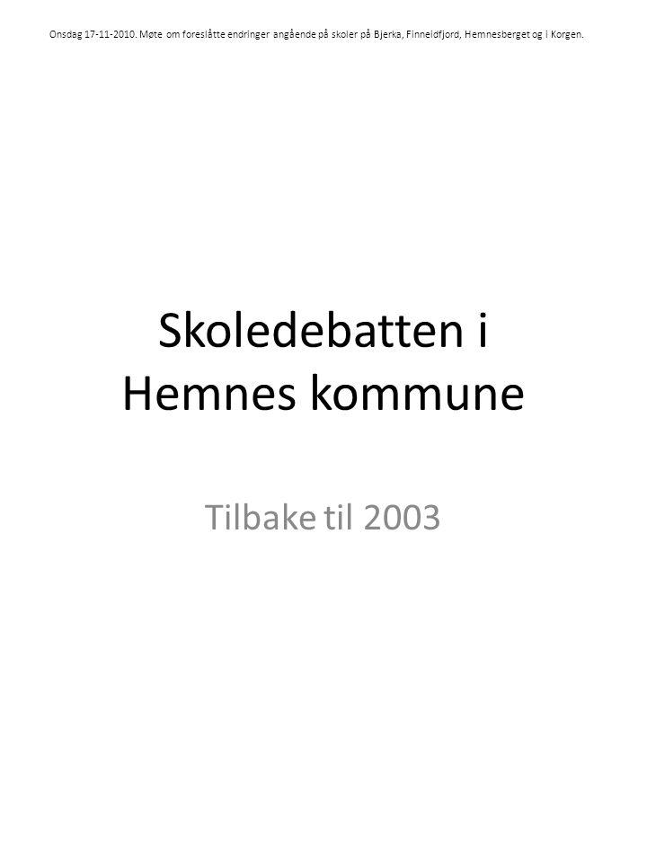 Skoledebatten i Hemnes kommune Tilbake til 2003 Onsdag 17-11-2010.