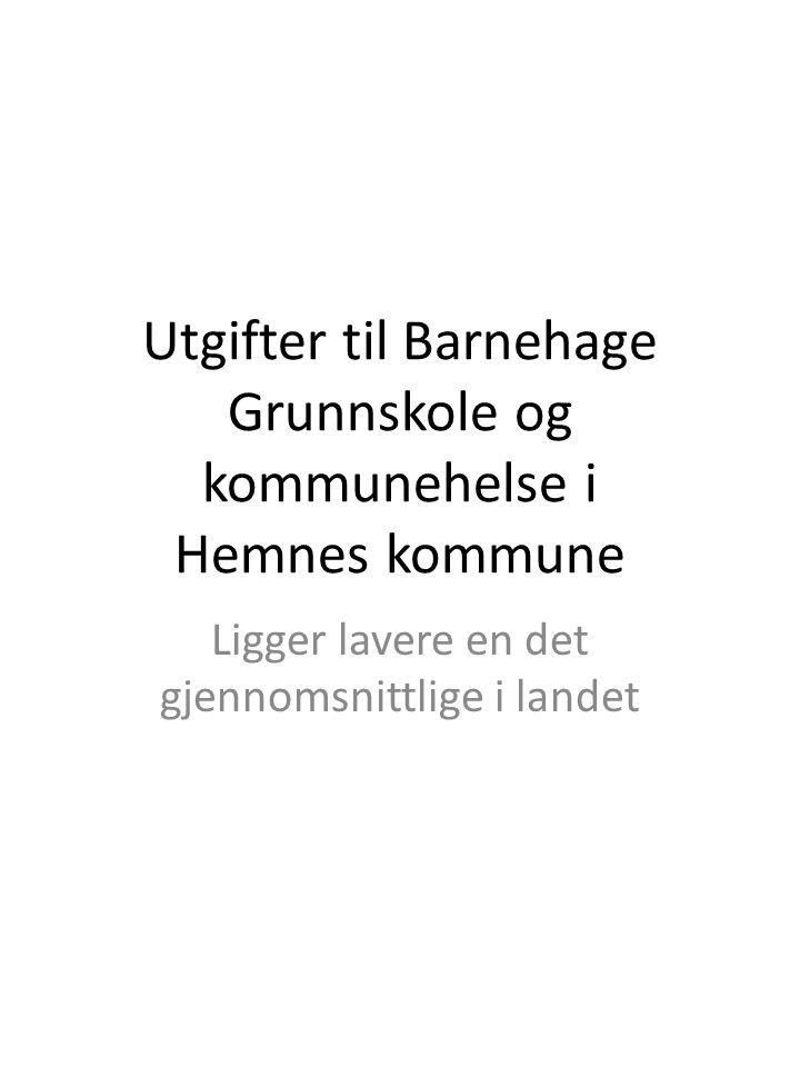 Utgifter til Barnehage Grunnskole og kommunehelse i Hemnes kommune Ligger lavere en det gjennomsnittlige i landet