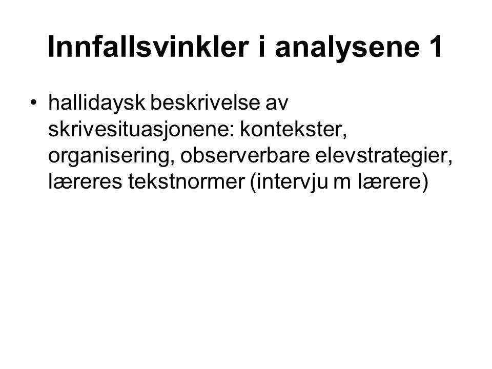 Innfallsvinkler i analysene 1 •hallidaysk beskrivelse av skrivesituasjonene: kontekster, organisering, observerbare elevstrategier, læreres tekstnorme