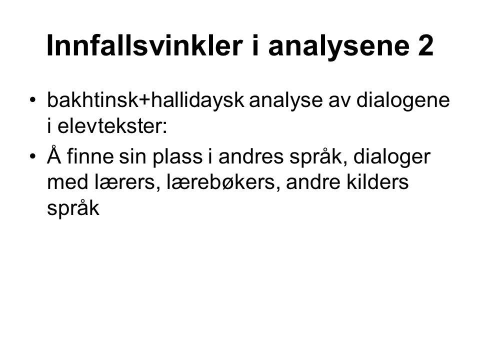 Innfallsvinkler i analysene 2 •bakhtinsk+hallidaysk analyse av dialogene i elevtekster: •Å finne sin plass i andres språk, dialoger med lærers, lærebø
