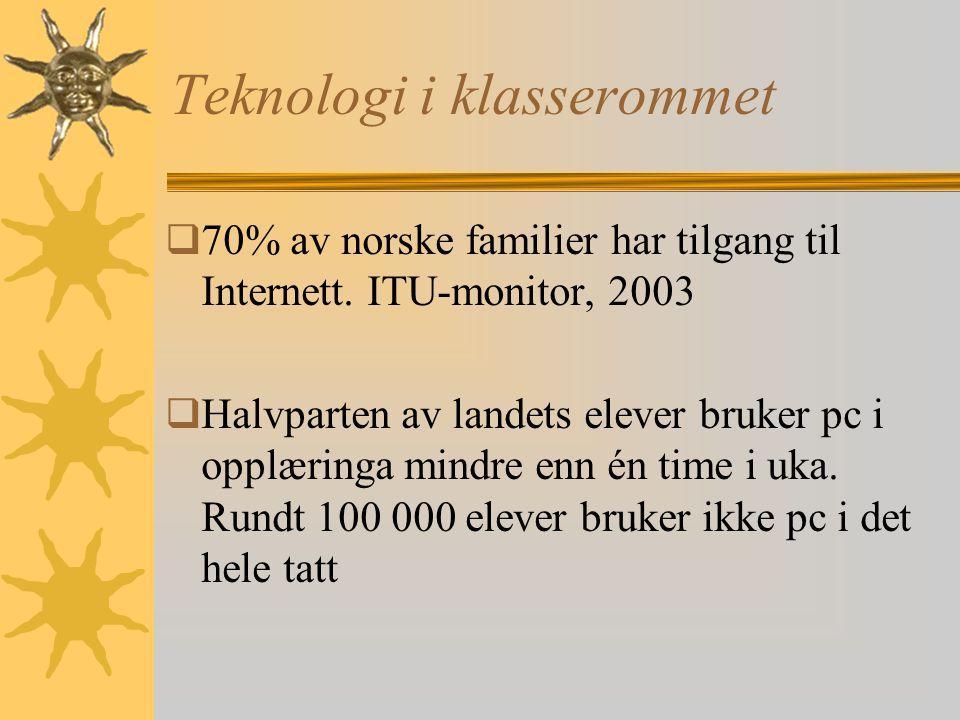Teknologi i klasserommet  70% av norske familier har tilgang til Internett.