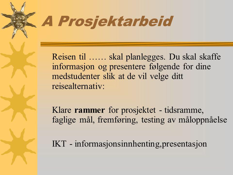 A Prosjektarbeid Reisen til …… skal planlegges.