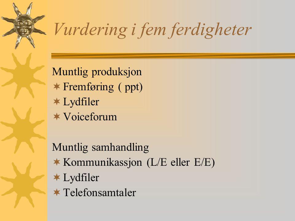 Vurdering i fem ferdigheter Muntlig produksjon  Fremføring ( ppt)  Lydfiler  Voiceforum Muntlig samhandling  Kommunikassjon (L/E eller E/E)  Lydfiler  Telefonsamtaler