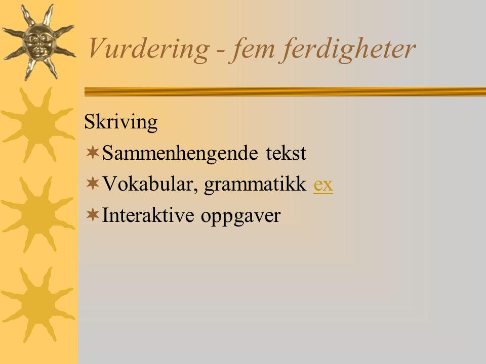 Vurdering - fem ferdigheter Skriving  Sammenhengende tekst  Vokabular, grammatikk exex  Interaktive oppgaver