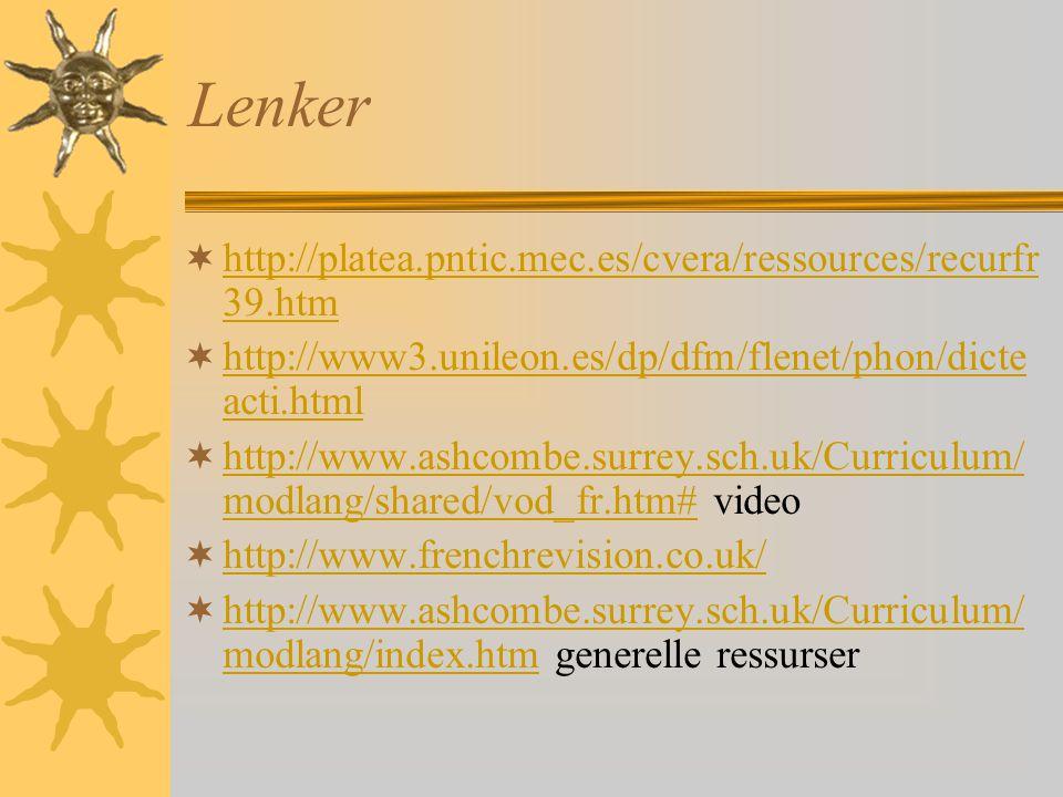 Lenker  http://platea.pntic.mec.es/cvera/ressources/recurfr 39.htm http://platea.pntic.mec.es/cvera/ressources/recurfr 39.htm  http://www3.unileon.es/dp/dfm/flenet/phon/dicte acti.html http://www3.unileon.es/dp/dfm/flenet/phon/dicte acti.html  http://www.ashcombe.surrey.sch.uk/Curriculum/ modlang/shared/vod_fr.htm# video http://www.ashcombe.surrey.sch.uk/Curriculum/ modlang/shared/vod_fr.htm#  http://www.frenchrevision.co.uk/ http://www.frenchrevision.co.uk/  http://www.ashcombe.surrey.sch.uk/Curriculum/ modlang/index.htm generelle ressurser http://www.ashcombe.surrey.sch.uk/Curriculum/ modlang/index.htm