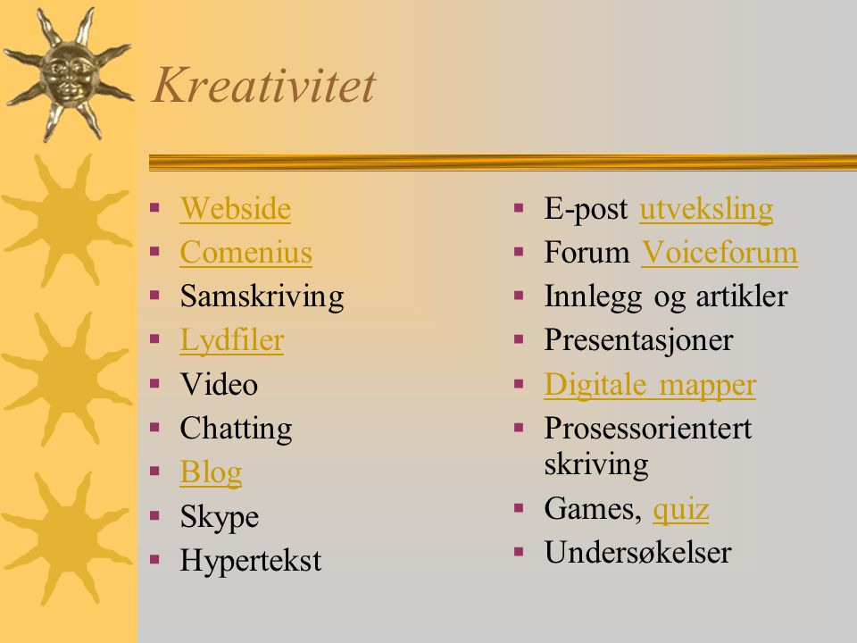 Kreativitet  Webside Webside  Comenius Comenius  Samskriving  Lydfiler Lydfiler  Video  Chatting  Blog Blog  Skype  Hypertekst  E-post utvek