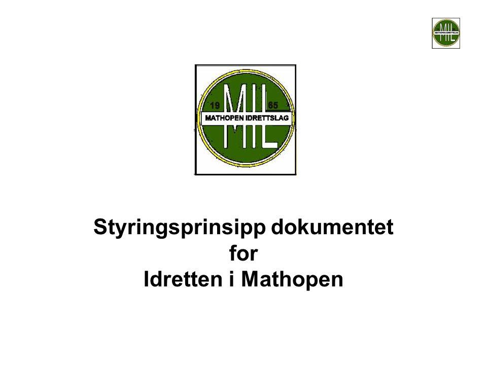 Styringsprinsipp dokumentet for Idretten i Mathopen