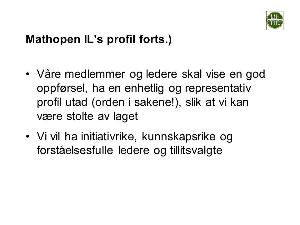 Mathopen IL's profil forts.) •Våre medlemmer og ledere skal vise en god oppførsel, ha en enhetlig og representativ profil utad (orden i sakene!), slik