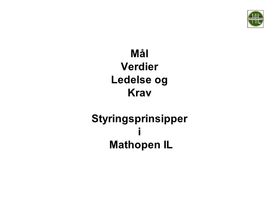Mål Verdier Ledelse og Krav Styringsprinsipper i Mathopen IL