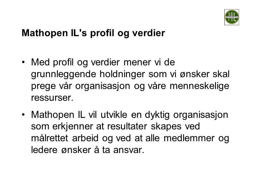 Mathopen IL's profil og verdier •Med profil og verdier mener vi de grunnleggende holdninger som vi ønsker skal prege vår organisasjon og våre menneske