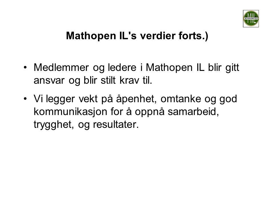 Mathopen IL's verdier forts.) •Medlemmer og ledere i Mathopen IL blir gitt ansvar og blir stilt krav til. •Vi legger vekt på åpenhet, omtanke og god k