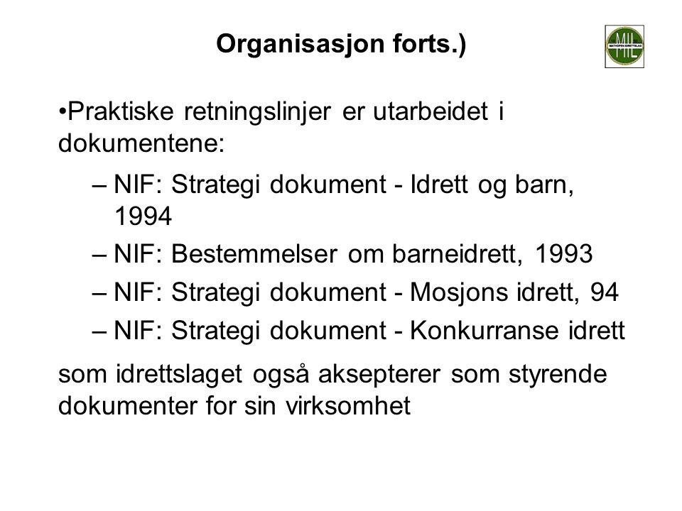 Organisasjon forts.) •Praktiske retningslinjer er utarbeidet i dokumentene: –NIF: Strategi dokument - Idrett og barn, 1994 –NIF: Bestemmelser om barne