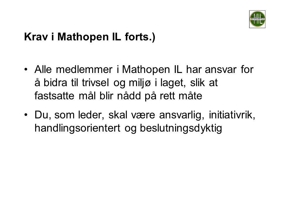Krav i Mathopen IL forts.) •Alle medlemmer i Mathopen IL har ansvar for å bidra til trivsel og miljø i laget, slik at fastsatte mål blir nådd på rett