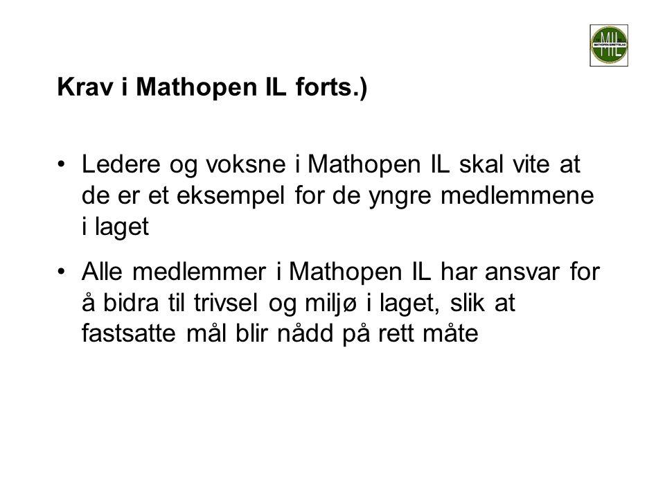 Krav i Mathopen IL forts.) •Ledere og voksne i Mathopen IL skal vite at de er et eksempel for de yngre medlemmene i laget •Alle medlemmer i Mathopen I