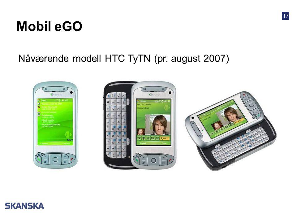 17 Nåværende modell HTC TyTN (pr. august 2007) Mobil eGO