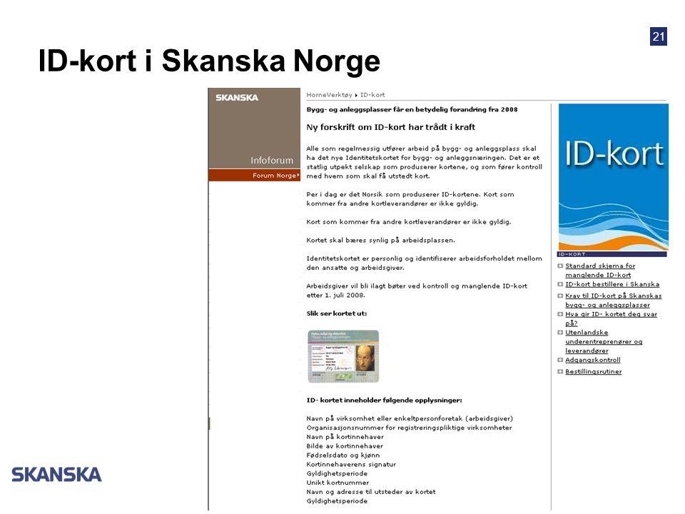 21 ID-kort i Skanska Norge