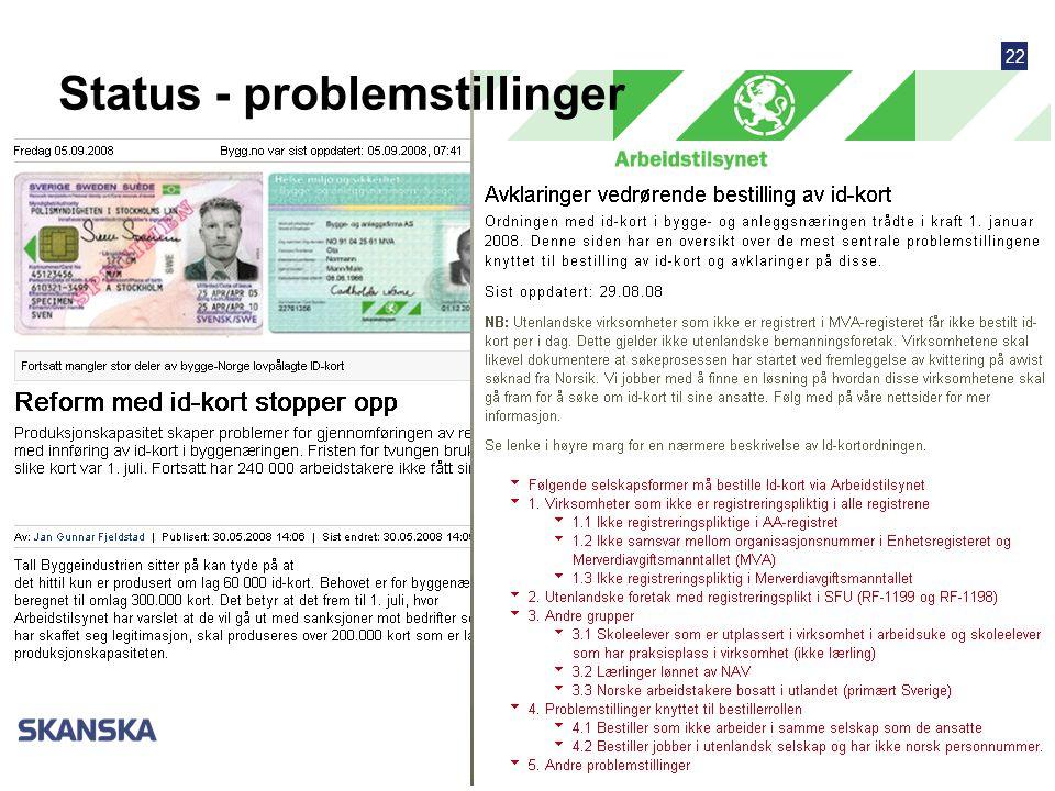 22 Status - problemstillinger