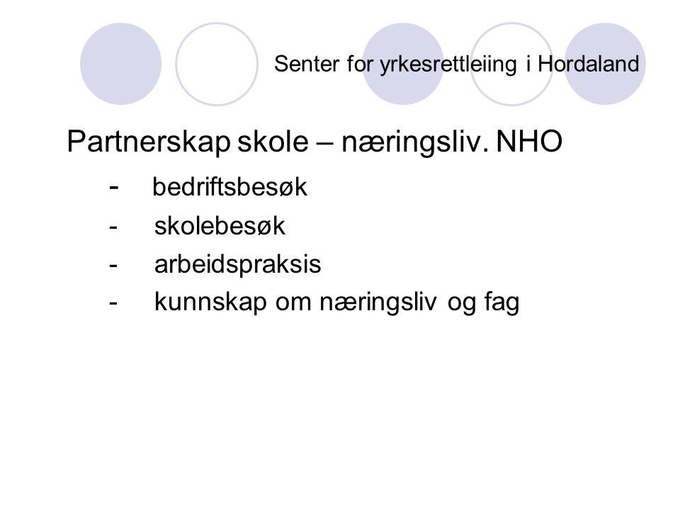 Senter for yrkesrettleiing i Hordaland Partnerskap skole – næringsliv. NHO - bedriftsbesøk - skolebesøk - arbeidspraksis - kunnskap om næringsliv og f