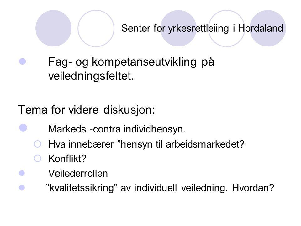 Senter for yrkesrettleiing i Hordaland  Fag- og kompetanseutvikling på veiledningsfeltet. Tema for videre diskusjon:  Markeds -contra individhensyn.