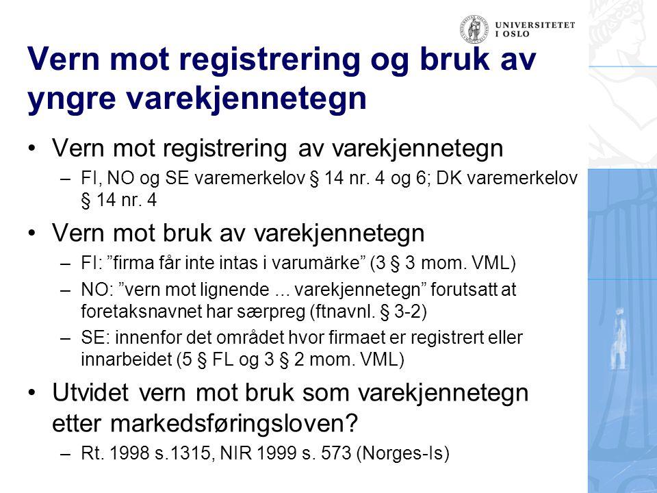 Vern mot registrering og bruk av yngre varekjennetegn •Vern mot registrering av varekjennetegn –FI, NO og SE varemerkelov § 14 nr. 4 og 6; DK varemerk