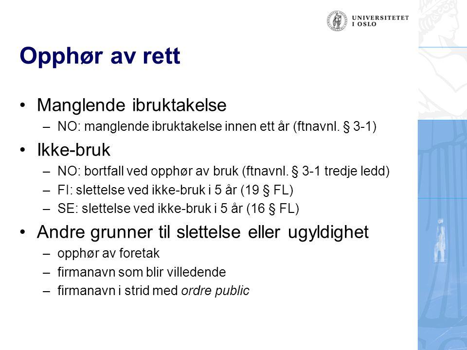 Utenlandske firma- og handelsnavn •Vern for firmanavn (filialnavn) som er registrert i riket •Vern for navn som er innarbeidet i riket –DK, FI, NO og SE •Vern for firma som er i viss grad känt –FI: HD 2005:143 (Anheuser-Busch) •Vern for navn som er tatt i bruk i riket –NO: PS-2006-7355 (1-800-FLOWERS) –DK: U 1975 s.