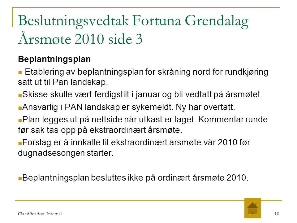 Classification: Internal10 Beslutningsvedtak Fortuna Grendalag Årsmøte 2010 side 3 Beplantningsplan  Etablering av beplantningsplan for skråning nord