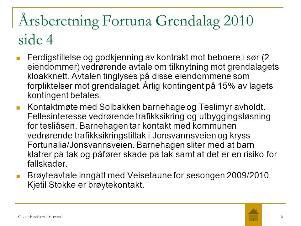Classification: Internal6 Årsberetning Fortuna Grendalag 2010 side 4  Ferdigstillelse og godkjenning av kontrakt mot beboere i sør (2 eiendommer) ved