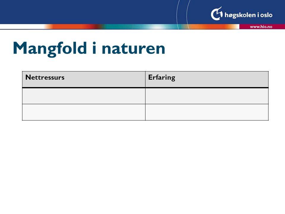 Mangfold i naturen NettressursErfaring