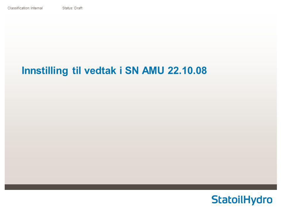Classification: Internal Status: Draft Innstilling til vedtak i SN AMU 22.10.08