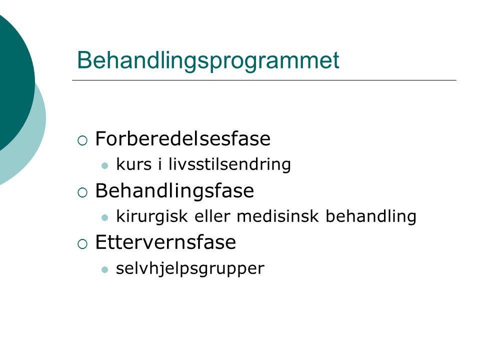 Behandlingsprogrammet  Forberedelsesfase  kurs i livsstilsendring  Behandlingsfase  kirurgisk eller medisinsk behandling  Ettervernsfase  selvhjelpsgrupper