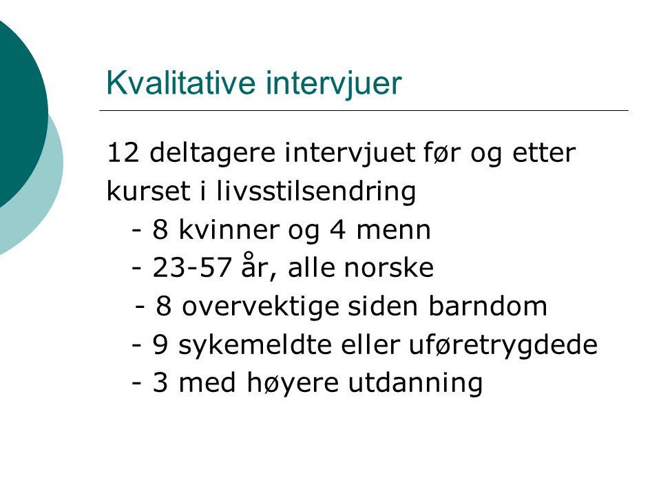 Kvalitative intervjuer 12 deltagere intervjuet før og etter kurset i livsstilsendring - 8 kvinner og 4 menn - 23-57 år, alle norske - 8 overvektige siden barndom - 9 sykemeldte eller uføretrygdede - 3 med høyere utdanning