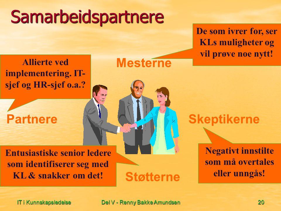 IT i KunnskapsledelseDel V - Renny Bakke Amundsen20 Samarbeidspartnere Mesterne Partnere Skeptikerne Støtterne De som ivrer for, ser KLs muligheter og vil prøve noe nytt.