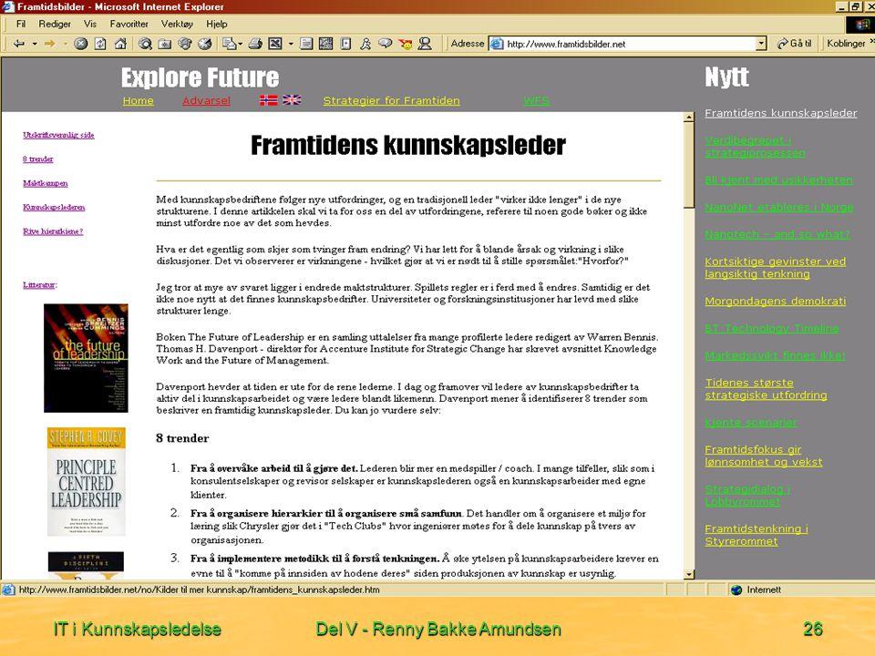 IT i KunnskapsledelseDel V - Renny Bakke Amundsen26