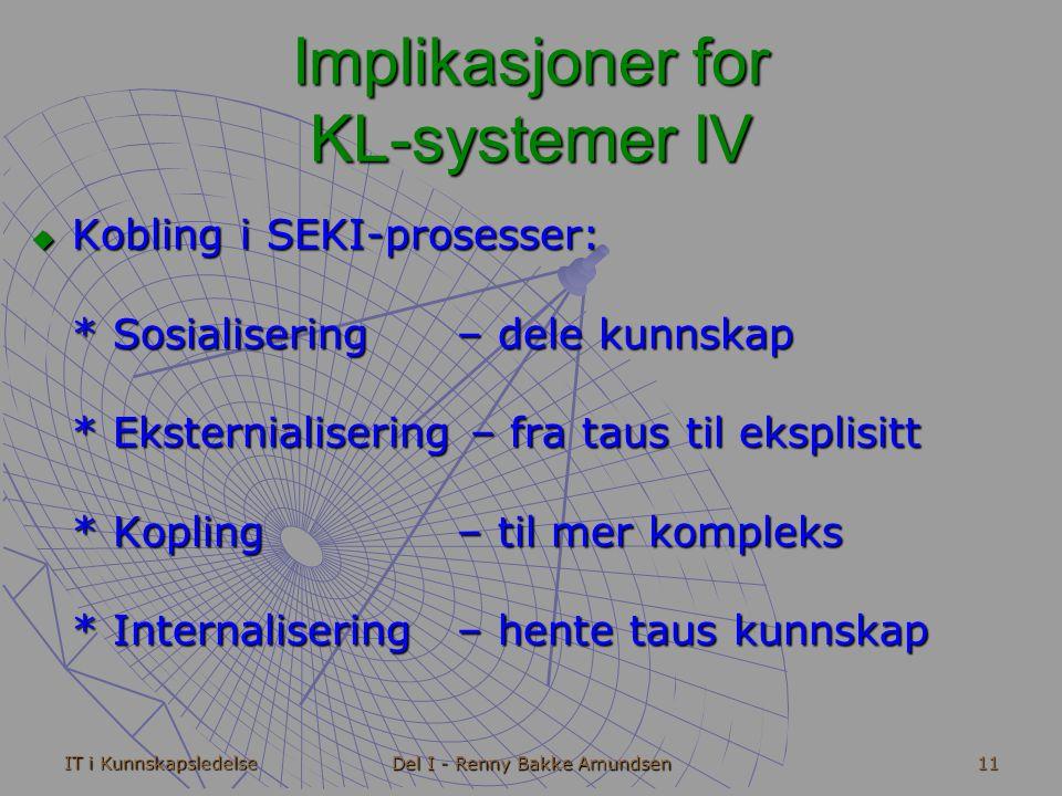 IT i Kunnskapsledelse Del I - Renny Bakke Amundsen 11 Implikasjoner for KL-systemer IV  Kobling i SEKI-prosesser: * Sosialisering – dele kunnskap * Eksternialisering – fra taus til eksplisitt * Kopling – til mer kompleks * Internalisering – hente taus kunnskap