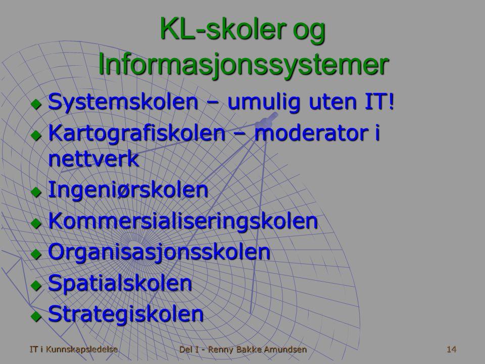 IT i Kunnskapsledelse Del I - Renny Bakke Amundsen 14 KL-skoler og Informasjonssystemer  Systemskolen – umulig uten IT.