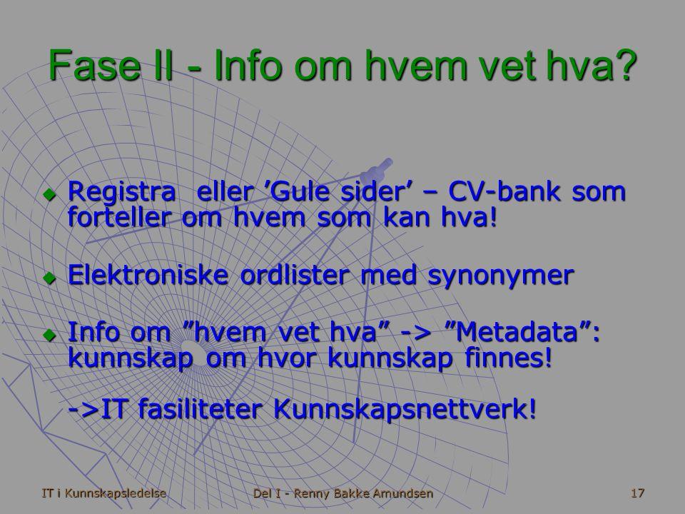 IT i Kunnskapsledelse Del I - Renny Bakke Amundsen 17 Fase II - Info om hvem vet hva.