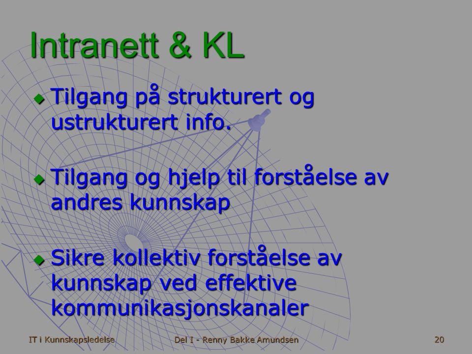 IT i Kunnskapsledelse Del I - Renny Bakke Amundsen 20 Intranett & KL  Tilgang på strukturert og ustrukturert info.