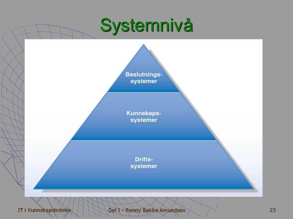 IT i Kunnskapsledelse Del I - Renny Bakke Amundsen 23 Systemnivå