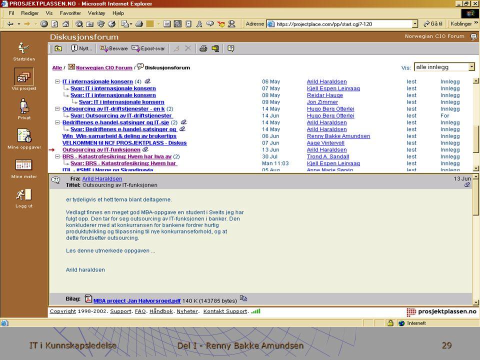 IT i Kunnskapsledelse Del I - Renny Bakke Amundsen 29