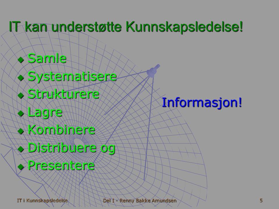 IT i Kunnskapsledelse Del I - Renny Bakke Amundsen 16 Fase I - Sluttbrukerverktøy  Testbehandler, Regneark, Presentasjonsverktøy o.l.