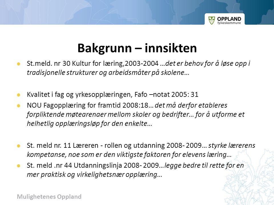 Mulighetenes Oppland Bakgrunn – innsikten  St.meld. nr 30 Kultur for læring,2003-2004 …det er behov for å løse opp i tradisjonelle strukturer og arbe