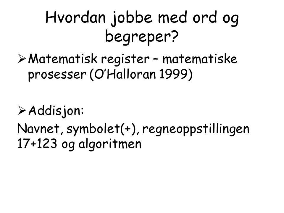 Hvordan jobbe med ord og begreper?  Matematisk register – matematiske prosesser (O'Halloran 1999)  Addisjon: Navnet, symbolet(+), regneoppstillingen